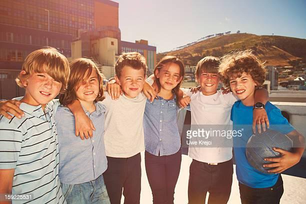 Group of children, 8 - 10 years. portrait, outdoor