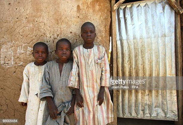 A group of children are seen outside their mud and brick home on November 07 2009 in Bauchi Nigeria