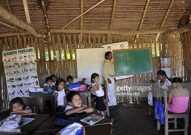 A group of children at the elementary school of the San Pablo Village in the Isiboro Secure National Park and Indigenous Territory Bolivia on May 11...