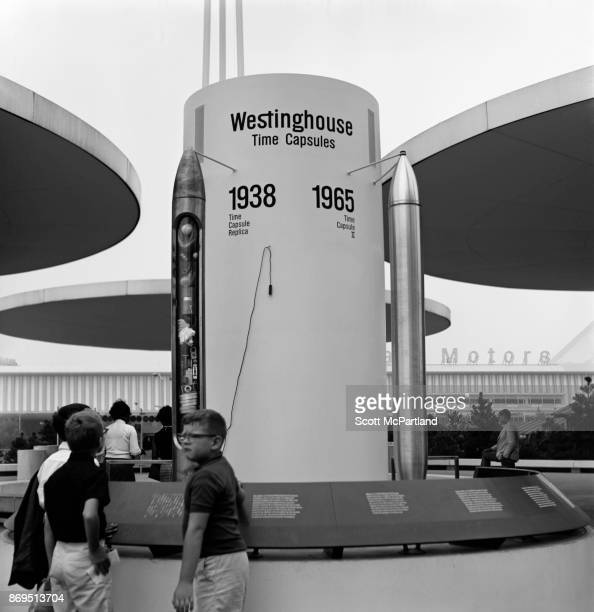 A group of children check out the Westinghouse Time Capsule at the 196465 World's Fair in Flushing Meadows Corona Park