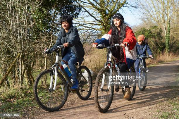 Group of children cycling on cycle track