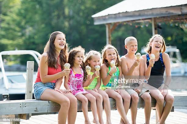 Group of Children Eating Ice Cream
