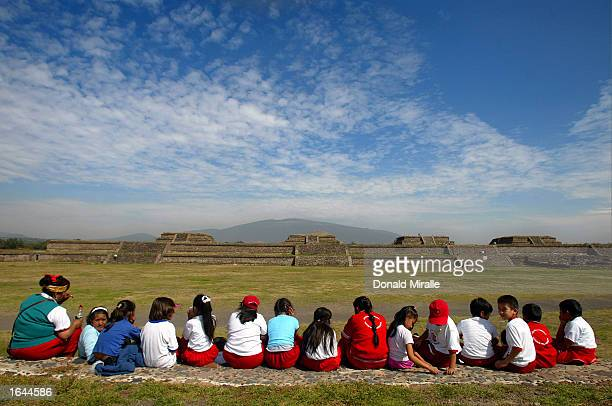 A group of children enjoy the site of the ancient Sun Pyramid at the Teotihuacan Citadel outside of Mexico City during the Gran Premio GiganteTelmex...