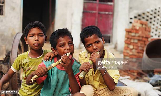 group of children enjoying sugarcane - human arm stockfoto's en -beelden