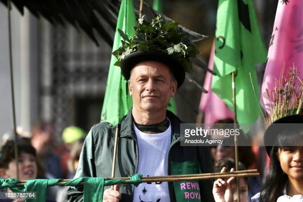Group of children, gather at Green Park to call on the British Royal family to reclaim their lands in order to combat the climate crisis, in London,...