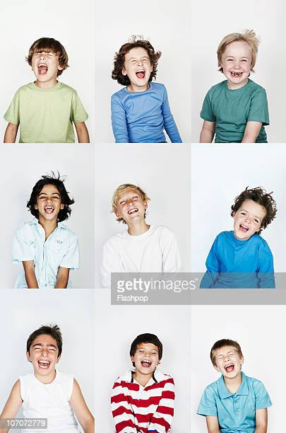group of children laughing - mouth open stock pictures, royalty-free photos & images