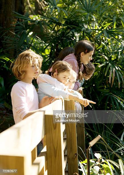 Group of children looking over railing