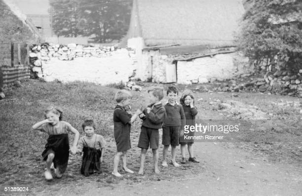 A group of children of The Claddagh an ancient fishing settlement on Galway Bay on the West Coast of Ireland circa 1965