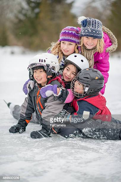 Group of Children on a Frozen Lake