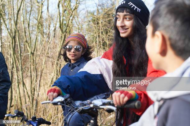 Group of children on cycle track