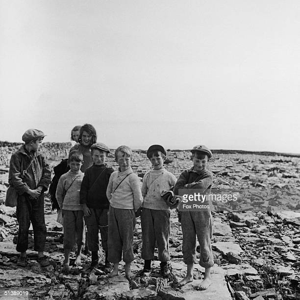 A group of children on the Aran Islands off the west coast of Ireland circa 1950