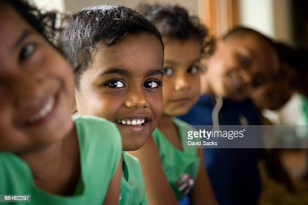 group of children - sri lankan school girls stock photos and pictures