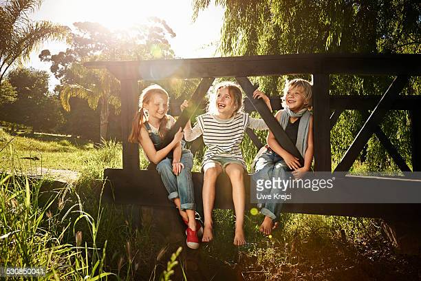 Group of children playing outdoors in park