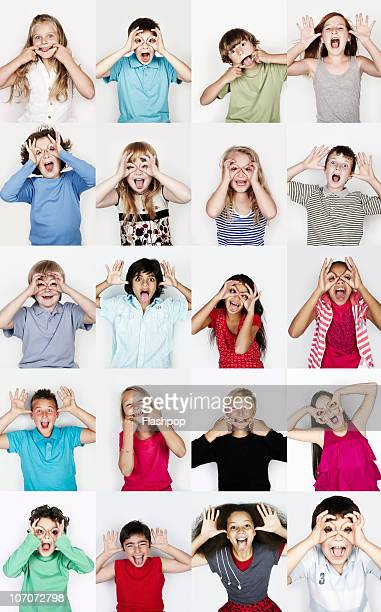 Group of children pulling funny faces
