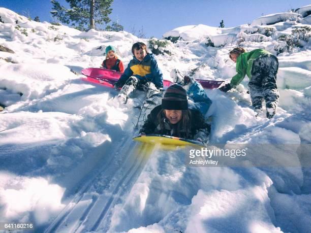 Group of children sledding together