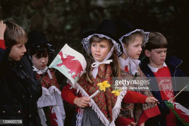 A group of children waving homemade Welsh flags in Cardiff Wales during a visit by Prince Charles and Diana Princess of Wales for their son William's...