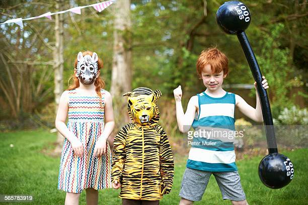 group of children wearing fancy dress costumes, portrait - animated zebra stock pictures, royalty-free photos & images