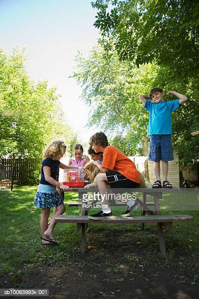 Group of children (7-13) with dog sitting on picnic table, looking at hamster in cage