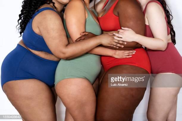 group of chubby women in lingerie - celulitis fotografías e imágenes de stock