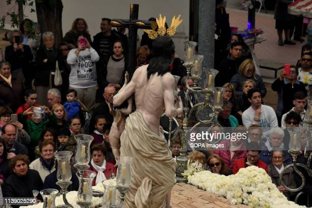 L´HOSPITALET CATALONIA SPAIN A group of citizens seen observing the image of Resurrected Christ during the parade Easter Parade 2019 Hospitalet A...