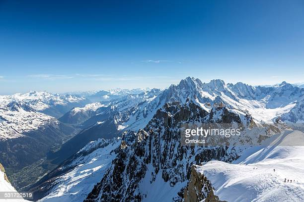 Group of Climbers Going at Mont Blanc Summit, Chamonix, France