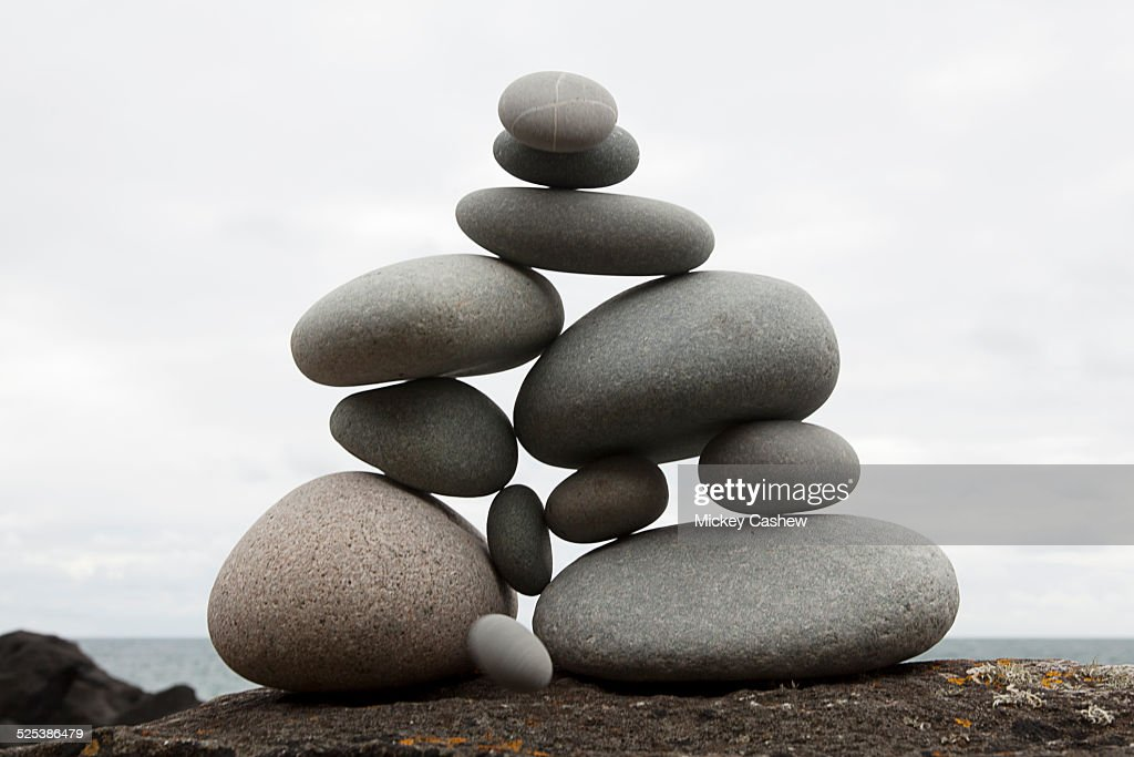 Group of coastal stones balanced on top of each other : Stock Photo