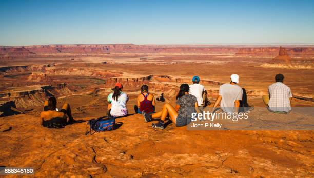 Group of college students looking out at the Green River in Canyonlands National Park