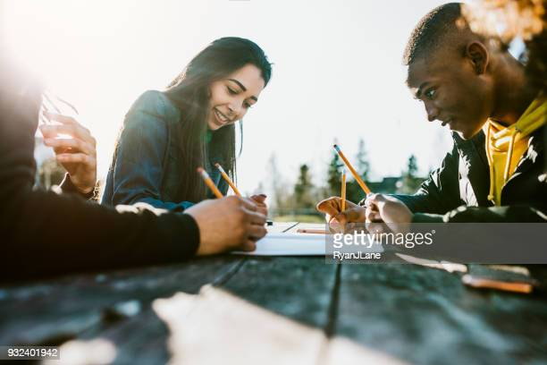 Group of College Students Study on Campus
