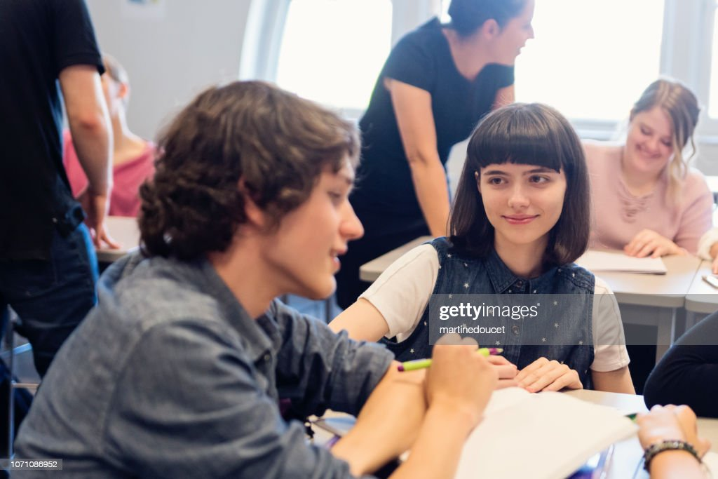 Group of College students working in team in classroom. : Stock Photo