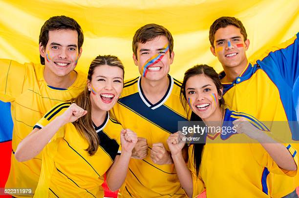 group of colombian football fans - colombia stock pictures, royalty-free photos & images