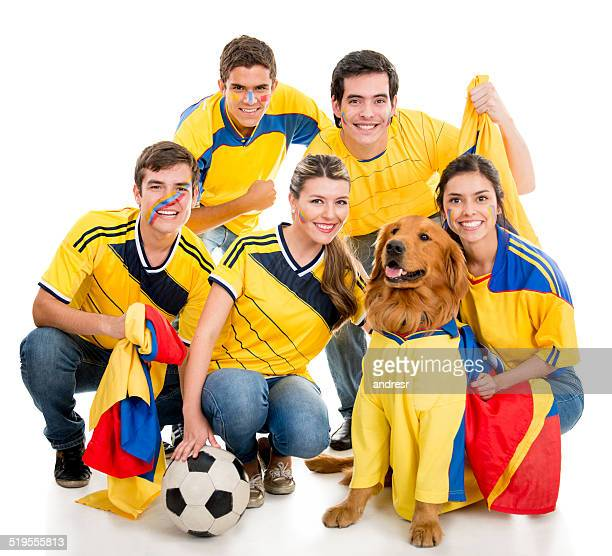 Group of Colombian soccer fans