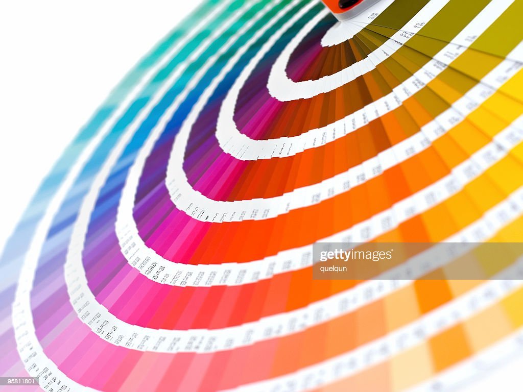 Group of color card spread out into rainbow : Stock Photo