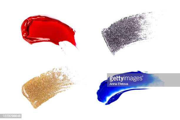 group of colorful makeup swatches - stroking stock pictures, royalty-free photos & images