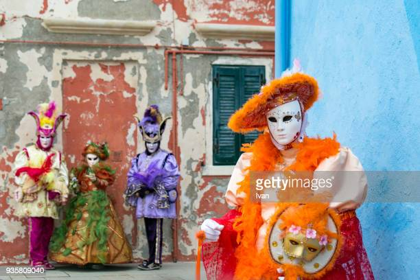 Group of colorful venetian masks in Venice