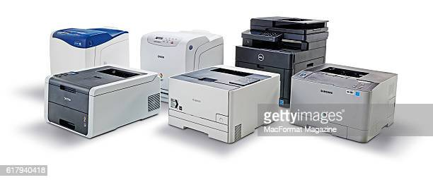 A group of colour laser printers including Xerox Phaser 6500 Epson Aculaser C2900N Dell H625cdw Samsung Xpress C1810W Canon LBP7110Cw and a Brother...