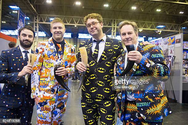 A group of comic book lovers in themed suits on day 2 of the November Birmingham MCM Comic Con at the National Exhibition Centre in Birmingham UK on...