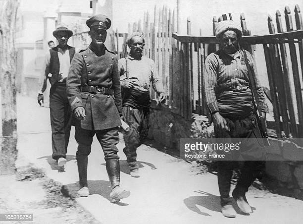 Group Of Comitadjis Macedonian Nationalists With A Soldier In Albania Around 19301939