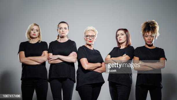 group of confident women protesting - protest against violence against women stock pictures, royalty-free photos & images