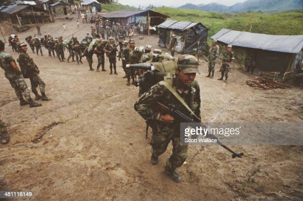 A group of contra guerillas 1989 Operating in Nicaragua and Honduras the group is fighting in opposition to the Sandinista government of Nicaragua