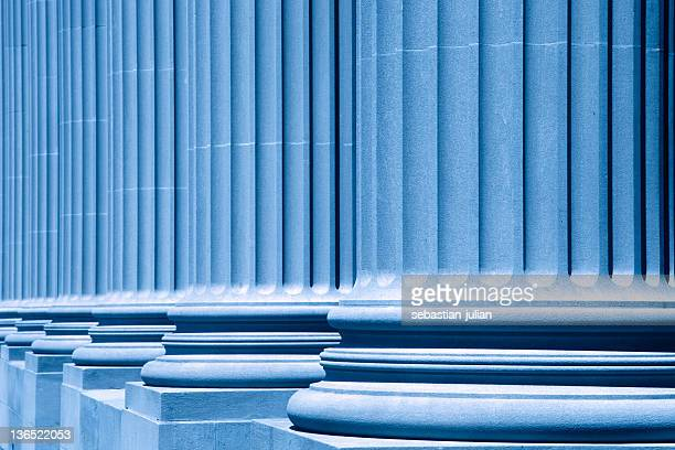group of corporate blue business columns - neoklassiek stockfoto's en -beelden