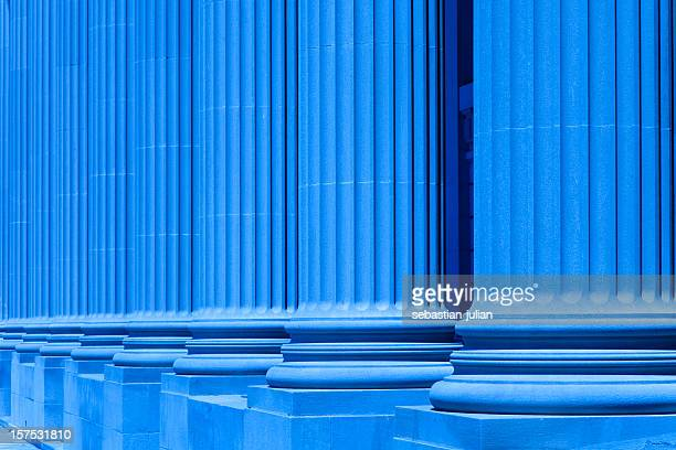 group of corporate blue business columns