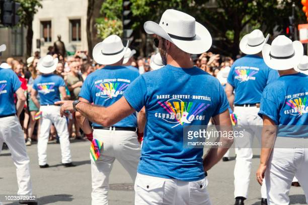 Group of country dancers at LGBTQ Pride Parade in Montreal.