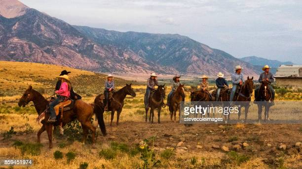 group of cowboys and cowgirls - appaloosa stock pictures, royalty-free photos & images