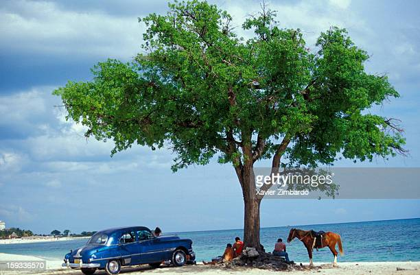 A group of Cuban friends having picnic on the beach under a tree with a horse and an old fashioned vintage car on May 3 2001 at Playa Ancon Trinidad...