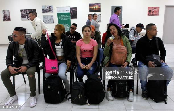 A group of Cuban migrants wait for their turn at the offices of the State Population Council in Ciudad Juarez Chihuahua State Mexico on April 23 2019...
