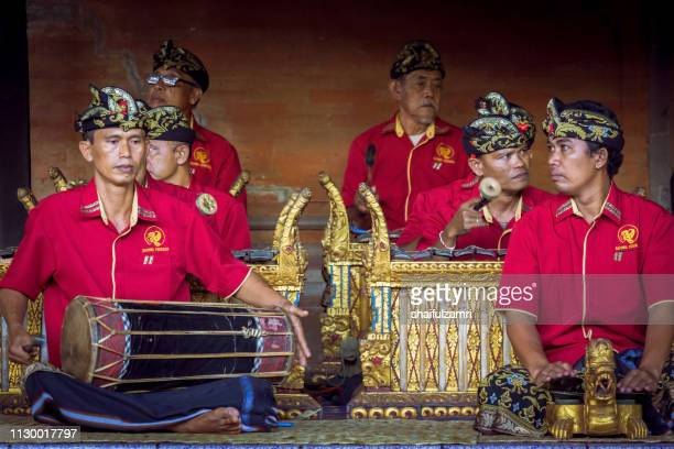 Group of cultural arts perform a traditional music for Barongan dance in Bali, Indonesia.