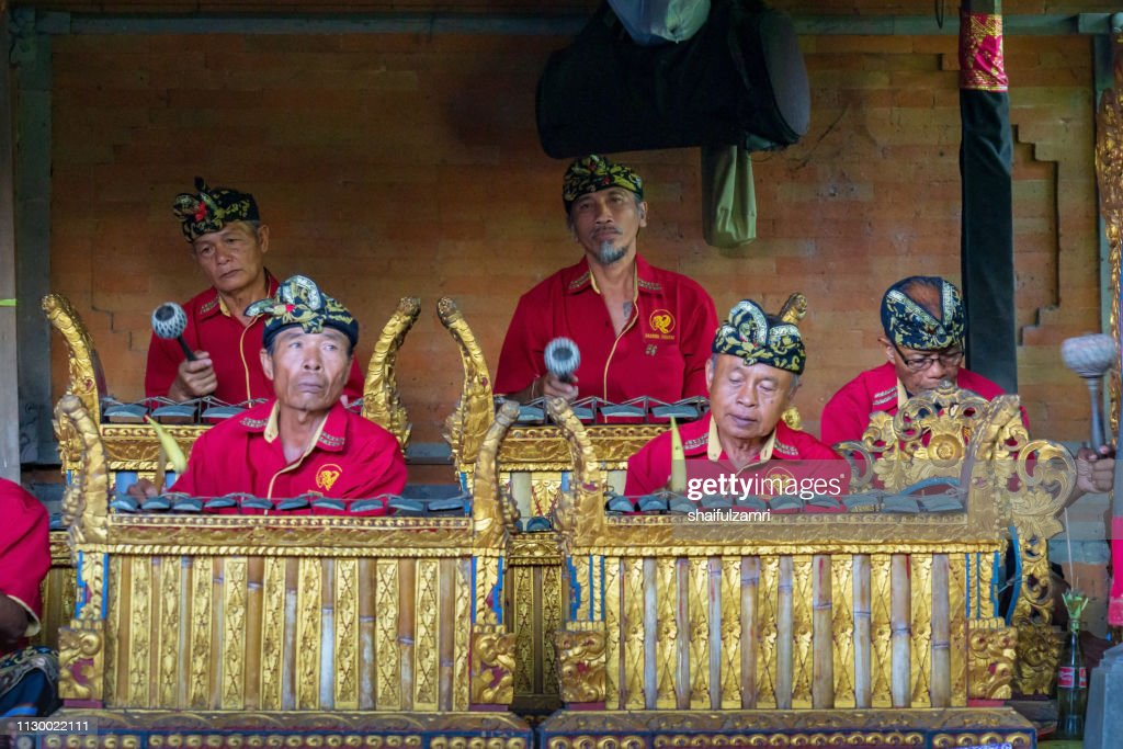 Group of cultural arts perform a traditional music for Barongan dance in Bali, Indonesia. : Stock Photo