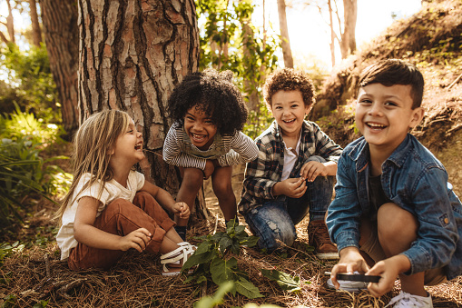 Group of cute kids playing in forest 1148825373
