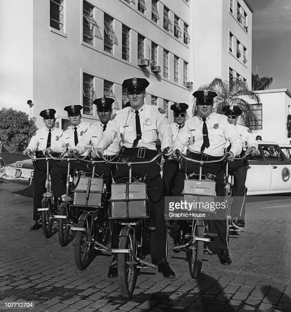 A group of cycle police with portable Motorola radios circa 1960