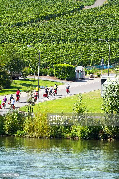 group of cyclists at mosel - moselle stock pictures, royalty-free photos & images